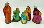 5 Paper Mache Nativity Figure Mary Joseph Wiseman Shepherd Germany Etc 19 1390