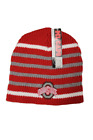 Ohio State Adult Unisex Red/Gray/White Striped Embroidered Beanie, One Size
