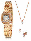 FERVOR Countess 18ct Rose Gold Plated Watch, Pendant and Matching Earrings...
