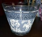 Vintage Jeanette Glass Wedgwood Blue Ice Bucket,Hellenic Glassware,White Roman