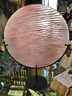 145 Diameter Signed Kosta Boda Pink Striped Charger with Stand