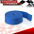 30Ft Exhaust Header Manifold Insulation Blue Heat Wrap Cover + Stainless Ties