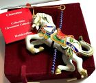DILLARDS CLOISONNE HOLLY CAROUSEL HORSE ORNAMENT WITH TAGS  VELVETEEN GIFT BOX