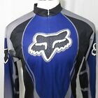 Vintage Fox Racing Cycling Jersey Black Blue Silver 3 4 Zip XXL Made In USA