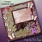 Vintage Themed Scrapbook Page with Feathers  Butterflies with Purples and Green
