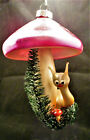 Vintage Glass hot pink MUSHROOM and snail Christmas Ornament Italy
