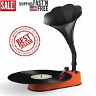 Turntable Record Player with Horn Speaker for 33 45 RPM Records Mini Gramophone
