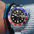 40mm PARNIS black dial Sapphire glass green luminous GMT automatic mens watch