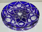 VINTAGE Ajka Crystal Coblat Blue Cut to Clear Platter Tray Plate 11 5 8