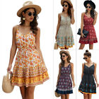 Women V-Neck Sleeveless Slip Dress Boho Floral Printed Beach Dresses For Summer