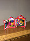 Lot of 2 Vintage Miniature Hand Crafted Nativity Scenes  Wood Cabinets  Peru