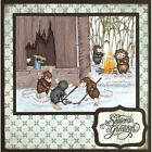 Stampendous cling mounted rubber stamp HOUSE MOUSE MICE HOCKEY winter