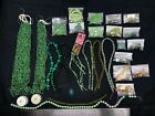 Lot of Jewelry Making Supplies in Green gemstones Glass etc Pre owned A271