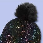 NWT More than Magic Shiny Black Sparkle Beanie Hat With Pom One Size Knit Girls