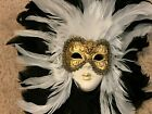 New Venetian Ornamental Feathered Mask 100 Auth  Made in Italy Certified