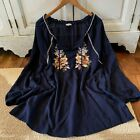 L Bohemian Embroidered Boho Festival Top Blouse Vtg 70s Ins Womens Size LARGE
