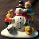 Lemax FINISHING TOUCHES kids building snowman Christmas Village Accessory porcel