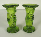 Pair vintage figural glass hand bud vases green small 4