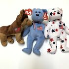 Lot Of 3 TY Beanie Babies Patriotic - 9/11 Red Cross America Bear Courage Glory