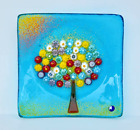 Murano Glass Tree of Life Plate M Turquoise 45