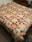 Vintage Hand stitched Quilt Double Wedding Ring Pattern Blanket 88 X 76