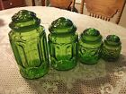 4 LE Smith Green Moon and Stars Canister Set w/ Lids VINTAGE