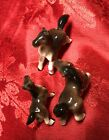 3 Vintage Goebel Brown Horses Ceramic Porcelain Figurine Germany 1960-72