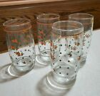 VINTAGE KITCHEN GLASSES  4 PEACH FLOWERS GREEN DOTS CLASSIC 50's 8oz retro cute