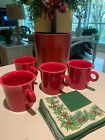 Set of 4 Fiesta Ware Red Scarlett Coffee/Tea/Cocoa Mugs Cups NEW