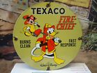 OLD 1967 TEXACO FIRE-CHIEF GASOLINE PORCELAIN GAS STATION PUMP SIGN MICKEY DUCK