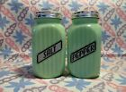 Jadeite Green Glass Square Ribbed Salt and Pepper Shakers in Excellent Condition