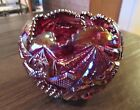 Iridescent Ruby Red Cranberry Carnival Glass Bowl  Multi Pattern  Mint