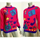 Vintage 80s Sweater Diary Telephone Hearts Womens S Pink Youth L 14 16 Fairy Kei