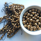 Vintage Czech Glass Round Faceted Beads Bronze Lot