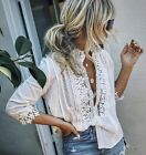NWT Boutique Bohemian White Lace 3 4 Sleeve Mock Neck Top Blouse Womens S L