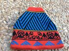 VTG Smiley Wool Ski Hat Red Black  Blue Knit Beanie Cap Made in USA Sparks