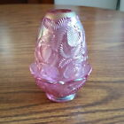 Fenton Glass Pink Ice Iridescent Carnival Strawberry Pattern Fairy Lamp Light