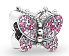 Pandora Dazzling Pink Butterfly Charm W Pink Crystals  Clear CZ