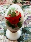 Fenton Egg White Satin Cardinal Red Bird Figurine Winter Christmas Holly Frit