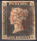 GB QV Sg11d PENNY BLACK Plate 9 with SCARCER RED MX