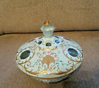 Vintage Bohemia candy dish with lid pale blue handpainted with gold pattern