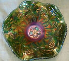 Modern Fenton CAROLINA DOGWOOD Emerald Green Carnival Glass Ruffled Bowl 85W