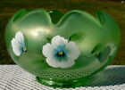 FENTON ART GLASS ROSE BOWL IN APPLE GREEN HAND PAINTED BY K RILEY New in Box