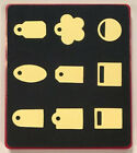 Sizzix Large Red Original Die Cutter MINI TAGS Set of 9 Tags Oval Flower