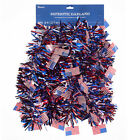 Darice Fourth of July Patriotic Tri Color Tinsel Garland w Flag Accents 9 feet