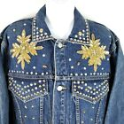 Vintage 80s Freego Blue Jean Jacket M Gold Silver Studs Beads Sequins Snowflakes