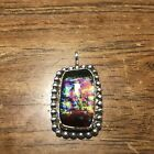 Sterling silver pendant fused dichroic glass hand made beautiful rainbow of colo