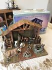 Grandeur Noel 17 piece Porcelain Nativity Accessories Set with Wood Creche Vtg