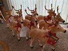 Set Of 8 Blow Mold Reindeer Deer Standing LED Christmas 27 Light Up Bow