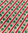 3 Yards CHRISTMAS Fabric Red Green HOLLY BERRY Striped 100 Cotton Quilt Craft